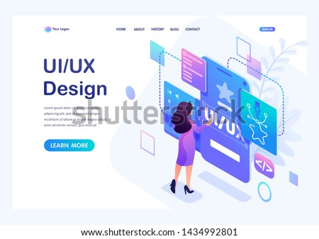 Isometric concept a young woman creates a custom design for a mobile application, Ui UX design. Landing page template for the site