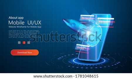 Isometric Concept Business Startup. The rocket takes off from portal of the mobile phone augmented reality on blue background. Design concept augmented reality. AR and VR Development. Media Technology