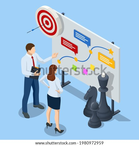 Isometric Concept business strategy, plan strategy for success. Achieving goals business strategy for win, management or leadership.