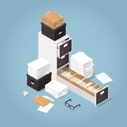 Isometric Concept Folder Archive. Vector illustration with paper, boxes and documents.