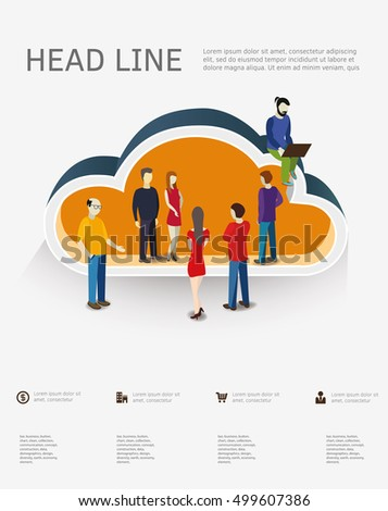 Isometric concept for cloud service on-line media file data and cloud computing.