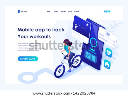 Isometric concept mobile app to track your workouts, girl running. Header concept. Template landing page for website