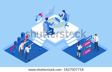 Isometric concept of business analysis, analytics, research, strategy statistic, planning, marketing, study of performance indicators. Investment in securities, smart investment, strategic management Stock fotó ©