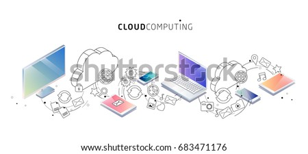 Isometric concept of cloud computing. Cloud network and services. Vector illustration.
