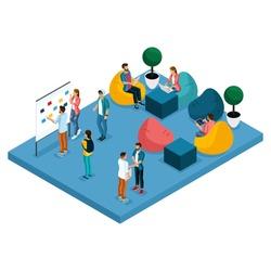 Isometric concept of coworking center. 3D people meeting, discussing, planning, brainstorming at the blackboard, comfortable armchairs in the open office space. Creative people, freelancers isolated.