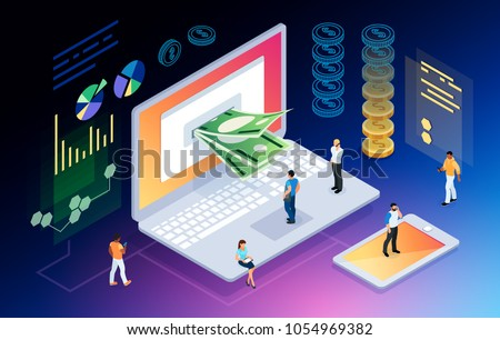 Isometric concept of crypto currency. 3d people mining money through the computer screen. E-commerce. Vector illustration.