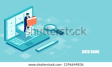 Isometric concept of database. Vector of a businessman holding a folder with documents from the archive managing online digital database