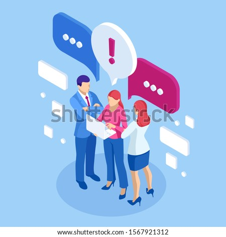 Isometric concept of discussing, chatting, conversation, dialogue. Businessmen and woman discuss social network, dialogue speech bubbles, news, social networks, chat.