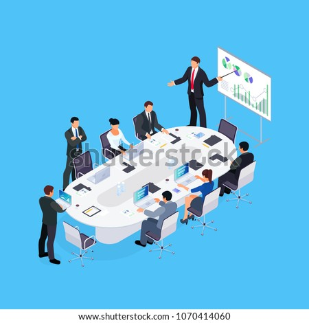 Isometric concept of office life. Business conference. 3d businessmen sit at a large table and listen to a report, analyze data on computers. Vector illustration.