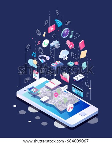 Isometric concept of smartphone with different applications, on-line services and stationary options. Vector illustration.