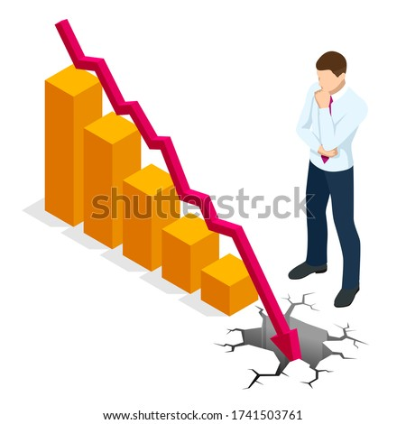 Isometric concept of World financial crisis, Oil price drop, Collapse of the economy, Financial crisis, Market fall, Bankruptcy, Budget recession, Investment expenses, Bad economy reduction Stock photo ©