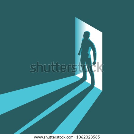 Isometric concept silhouette of man entering dark room with bright light in doorway. Vector illustration