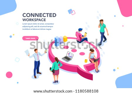 Isometric concept, wifi connected people, bar presentation. Occupation plan, workplace for team cooperation. Discussing together, diagram of brainstorming. Report, sales target, marketing illustration