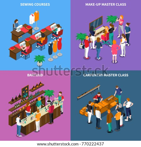 Isometric concept with master class for carpentry and makeup, sewing and bartenting courses isolated vector illustration
