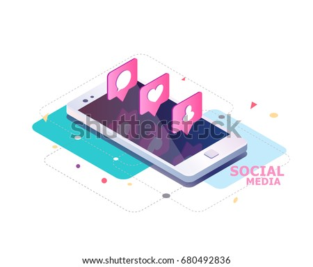 Isometric concept with mobile phone and push notification with likes, new comments, messages and followers. Set of social media notification with appreciation.  Vector illustration.