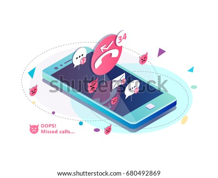 Isometric concept with mobile phone, missed calls, icons of messages. sms and mails notification. Vector illustration.