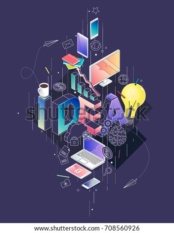 Isometric concept with thin line letters, typography word idea with line and colorful icons. For internet banner, websites, flyers. Vector illustration.