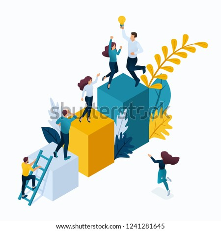 Isometric concept young entrepreneurs in office, start up project, successful business, ladder to success. Modern vector illustration concepts for website.