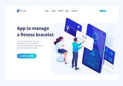 Isometric concept Young People are working with a fitness bracelet management App. Header concept. Template landing page for website