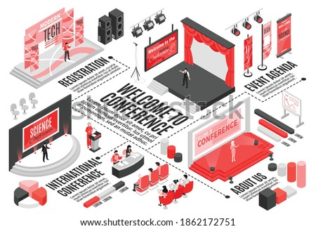 Isometric conference hall horizontal flowchart composition with text captions graph elements stages seats and visitor characters vector illustration