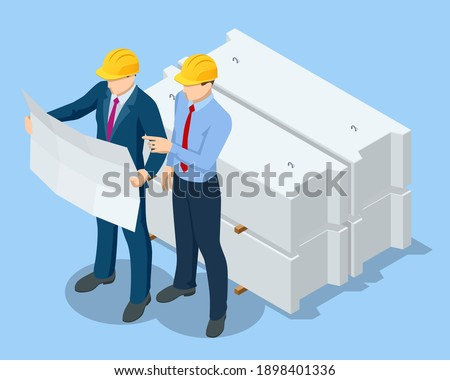 Isometric Construction Engineers and Builders in Yellow Safety Helmets On Building Site with Architectural Plan. Business Plan Development.