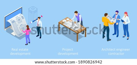 Isometric Construction Project Management, Architectural Project Planning, Development and Approval. Scheme of House, Engineer industry. Construction Company Business. Photo stock ©