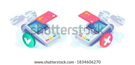 Isometric contactless successful payment and payment failed concept. 3d payment terminal with red and green checkmark. Cashless NFC payment transaction canceled and approved. Vector internet shopping.