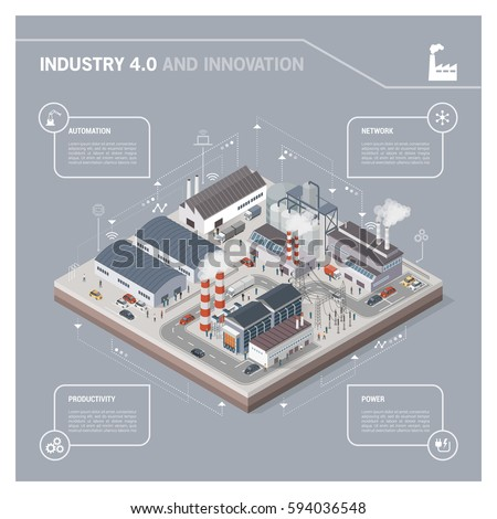 Isometric contemporary industrial park with factories, power plant, workers and transport: industry 4.0 infographic
