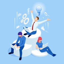 Isometric creative idea and innovation concept. New ideas with innovative technology and creativity. Brain bulb. Business meeting and brainstorming. Idea and business concept for teamwork.