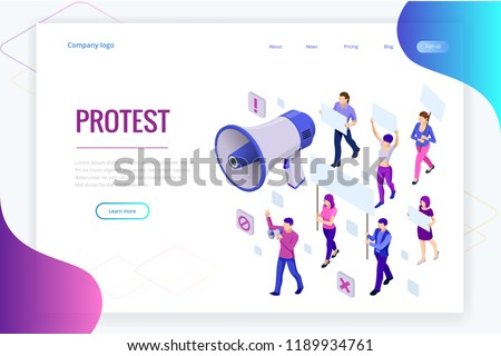 Isometric crowd of people protesters. Male and female protesters or activists. Holding banners and placards. Men and women taking part in political meeting, parade or rally. Vector illustration