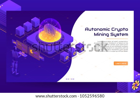 Isometric crypto mining concept banner. Concept of cryptocurrency mining. Vector Illustration with robotic organism.