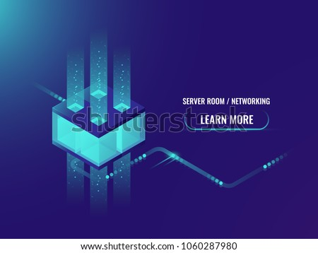 Isometric Cryptocurrency and Blockchain concept banner, processing of big data, server room concept, information center vector illustration