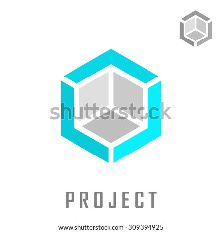 Isometric cube construction, 3d logo vector, structure concept, isolated on white background, eps 8