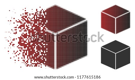 Stock Photo Isometric cube icon in sparkle, pixelated halftone and undamaged solid variants. Points are composed into vector disappearing isometric cube form.