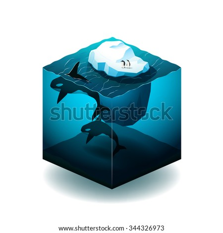 Isometric cube illustration with with iceberg, orcas and penguins in the ocean