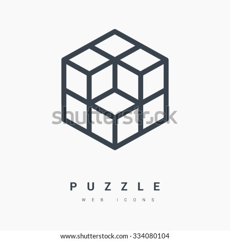 Isometric cube isolated minimal single flat linear icon. Line vector icon for websites and mobile minimalistic flat design. Modern trend concept design style illustration symbol
