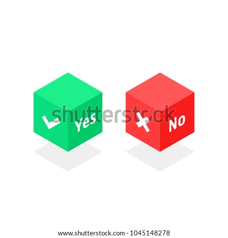 isometric cube with yes or no