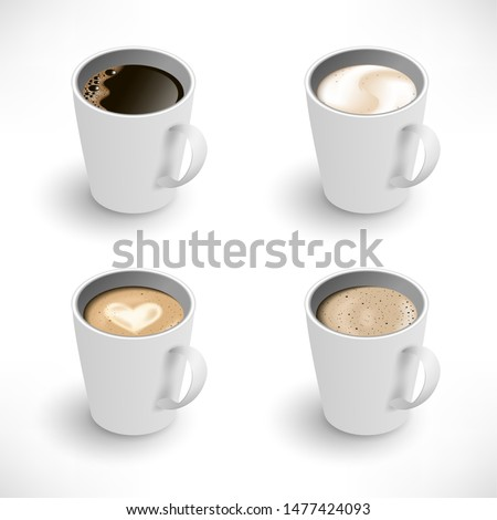 Isometric Cups of coffee assortment set. Black coffee, cappuccino, latte, espresso, macchiatto, mocha top view. Easy to edit realistic vector collection. 3d model americano white cup isolated on white