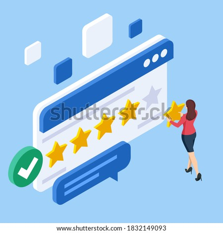 Isometric customer review or feedback concept. Online survey of customer satisfaction, election voting, product development research. Rating on customer service and user experience.