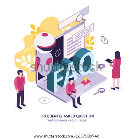 Isometric customer support faq composition with editable text gear icons and small human characters with laptop vector illustration