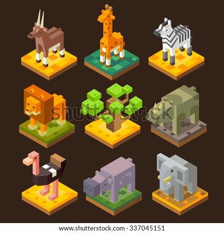 isometric 3d african animal set