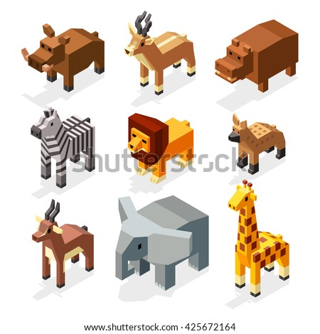 Isometric 3d african savannah animals flat vector stock. Mammal african elephant and hyena animal savannah. Creature wildlife deer animal in savannah area illustration