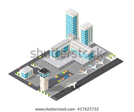 isometric 3d airstrip of the
