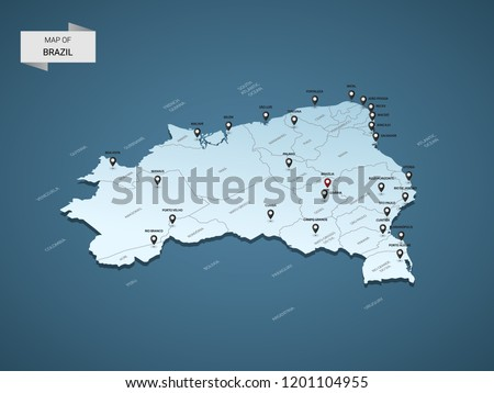 Isometric 3D Brazil map,  vector illustration with cities, borders, capital, administrative divisions and pointer marks; gradient blue background.  Concept for infographic.