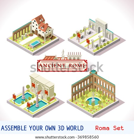 isometric 3d building ancient