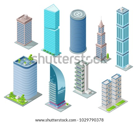 Isometric 3D buildings and city skyscrapers vector illustration for architecture construction design. Residential building, office or hotel residence towers with helicopter heliport on rooftop