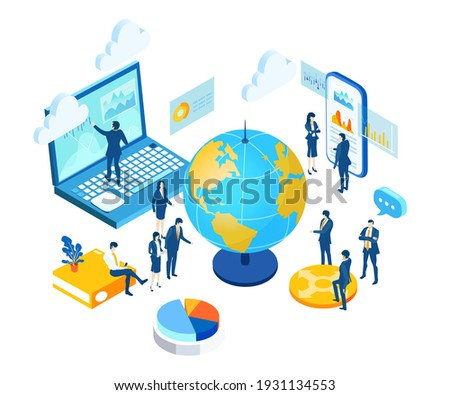 Isometric 3D business concept environment,  Lots of business people working around golem's, global business, global communication, international companies, world wide business opportunities