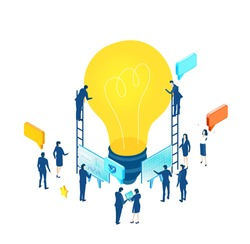 Isometric 3D business environment. Business management. Isometric office space, business people work around light bulb as symbol of generating fresh content and new ideas. Infographic illustration