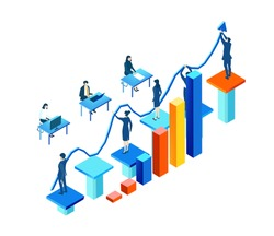 Isometric 3D business environment with business people working around growth charts and bars. People holding arrow up.  Finance, economy, banking, success, personal security concept infographic
