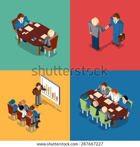 Isometric 3D business people icons. Meeting and job interview, deal handshake and presentation, teamwork and brainstorm, collaboration and coworker, conference office, vector illustration